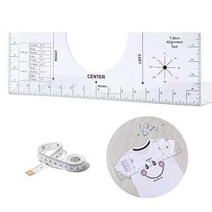 T-Shirt Ruler Guide, Acrylic T-Shirt Ruler Guide for Sublimation, T Shirt Rulers to Center Designs HTV Alignment Tool (16×5 Inch)