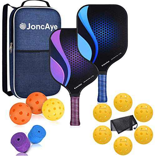 JoncAye Pickleball Bundle, Pickleball Set incl. Graphite Pickleball Paddle Set of 2, 7 Outdoor Pickleball Balls, 2 Indoor Pickleball Balls, 1 Pickleball Bag, 2 Grip Tapes, 1 Mesh Ball Bag