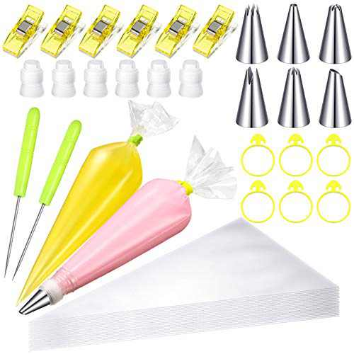 126 Pieces Cake Decorating Tools, 100 Pieces Piping Bag Icing Piping Bags with 6 Icing Bag Ties 6 Piping Tips 6 Couplers for Piping Bags 6 Pastry Bag Clips and 2 Scriber Needle for Cake Decor