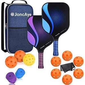 JoncAye Pickleball Bundle, Pickleball Set incl. Graphite Pickleball Paddle Set of 2, 8 Indoor Pickleball Balls, 1 Outdoor Pickleball Balls, 1 Pickleball Bag, 2 Grip Tapes, 1 Mesh Ball Bag