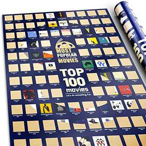 """100 Movie Posters Scratch Off Movie Poster Top Movie Gifts for Movie lovers with Scratching Tool Top Films of All Time Bucket List Movie night Posters for Room Aesthetic Decor Wall Art for bedroom (16.5"""" x 23.4"""")"""