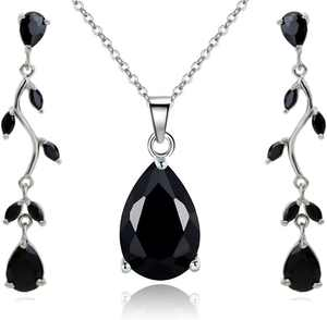 Jewelry Sets for Women: Burgundy Red or Black Crystal Teardrop Necklace and Earrings Set Costume Jewelry for Women, Wedding Party - 18K White Gold Plated Pendant and Earring Sets, Bracelet Set