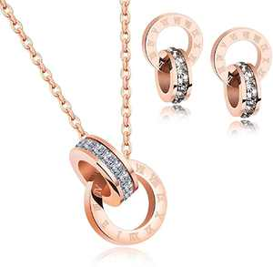 Rose Gold Jewelry: Colorful or White Crystal Necklace and Earrings Set - Costume Jewelry for Women, Wedding Party, Bridal and Bridesmaid Accessories - 18K Rose Gold Plated Pendant and Earring Sets