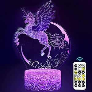 Carryfly Unicorn Night Light for Kids,Dimmable LED Nightlight Bedside Lamp,with Timer+7 Colors Changing,with Touch&Remote Control, for Boys and Girls,Birthday Present