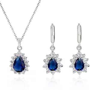 Crystalline Azuria Jewelry Sets for Women - Costume Jewelry Sets - Wedding Jewelry Set with Necklace and Earring - Cubic Zirconia Bridesmaid Jewelry - Formal Event Prom Jewelry