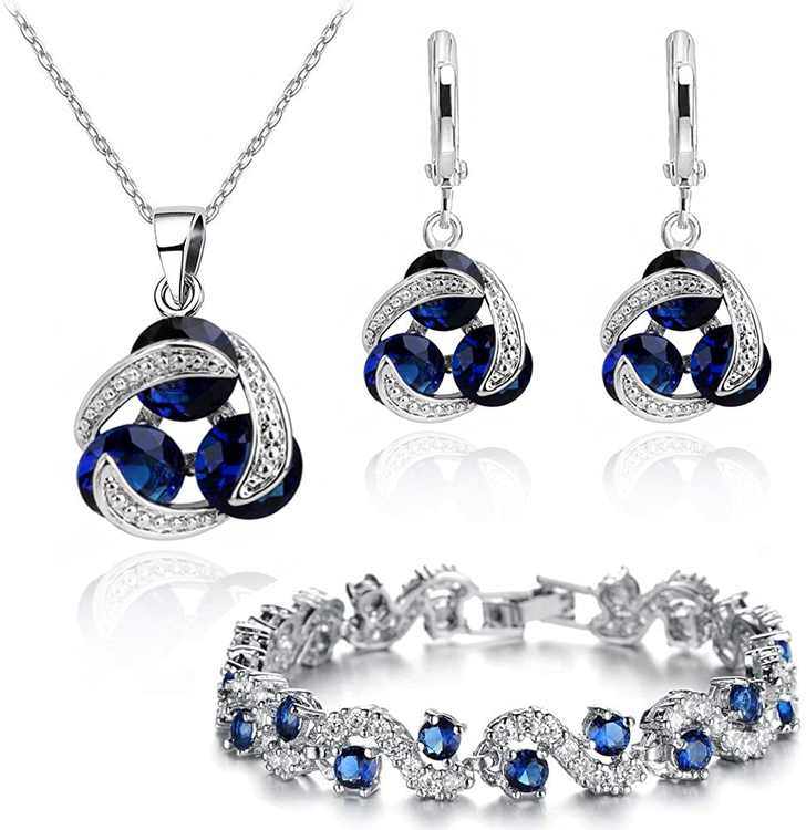Crystalline Azuria Jewelry Sets for Women - Premium Wedding Jewelry Sets - Bridal Jewelry Set with Necklace and Earring for Bride - Cubic Zirconia Bridesmaid Jewelry - Formal Event Costume Jewelry