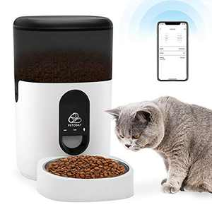 PETODAY Automatic Cat Feeder,Smart Timed Pet Feeder with App Control and Stainless Steel Bowl, Auto Cat Food Dispenser with Portion Control, Up to 8 Meals Per Day and 9s Voice Recorder (4L)