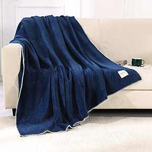 Smile Bee Soft Throw Blankets for Couch, Twin Size Waffle Fleece Blankets, Cozy Plush Warm Blanket with Trimmed Edge, 60 x 80 inches, Navy
