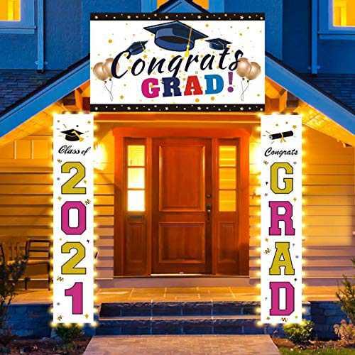 FAHZON Led Light up Graduation Decorations, Large Congratulations Banner Set, Class of 2021 Graduation Party Supplies, Congrats Grad Decorations Hanging for Door Porch Yard Sign, Gold & Rose Red.