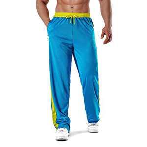 KouKou Men's-Lightweight Mesh-Sweatpants Workout-Breathable Loose-Drawstring Zipper Pockets Open Bottom Athletic Pants for Jogging Gym Hiking Running Training-2036-5-Blue-Yellow-XXL