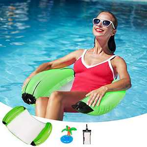 Towtu Pool Float (Inflatable Pool Float, Pool Lounger, Swimming Pool Floaties and Multi-Purpose Pool Hammock) + Inflatable Drink Holder+ Universal Waterproof Case for Adults/Kids