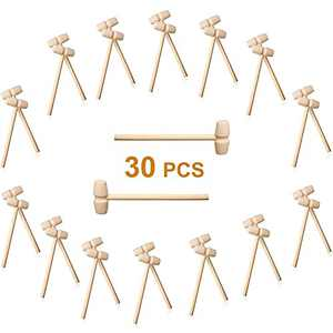 30PCS Wooden Hammer for Chocolate, Used for Seafood Parties, Jewelry Making, Leather Crafts and Mini Breakable Heart Hammer Tools