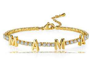CILILI 14K Gold Plated 3mm Cubic Zirconia Classic Tennis Bracelet with MAMA Charms for Women Mother's Gifts (Yellow Gold)