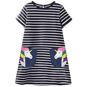Fiream Summer Toddler Girls Dresses - Casual Cute Animal Applique Outfits Dress Short Sleeve for Kids 3-8 Years(SS103,7-8 Years)