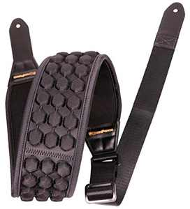 """BASS PERGO AirCell Guitar Strap for Electric Guitar, Bass & Acoustic with 3.5"""" Wide Neoprene Pad w/ 4 Straps Locks, Adjustable Length from 47"""" to 55"""", Black – Soft & Durable"""
