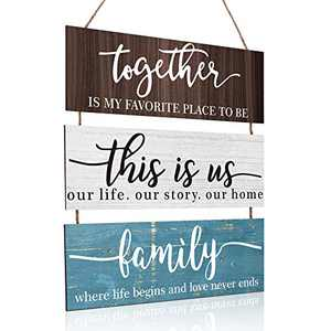 This is Us Family Sign Wall Decor Together Rustic Wood Hanging Home Sign Wood Inspirational Plaque Entryway Signs for Living Room Bedroom Office Outdoor Indoor (Retro Colors)