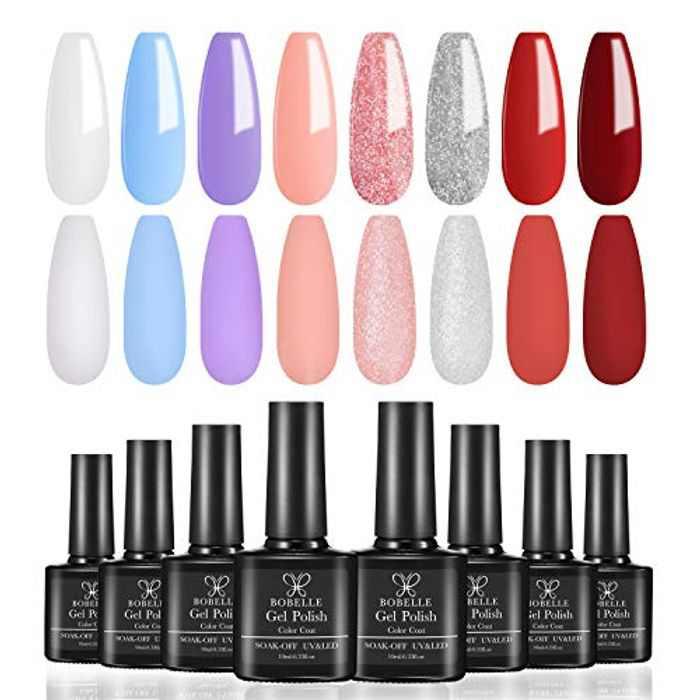 Bobelle 11 Pcs Gel Nail Polishes Set,8 Colour Soak Off UV LED Nail Lamp Gel Nail Polish Kit with Base Coat Top & Coat & Matte Top Coat