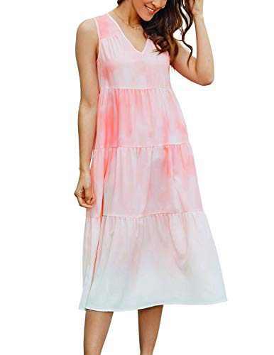 GRACE KARIN Women Gradient Loose Ruffle Midi Dress V-Neck Long Dress Pink S