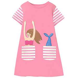 Fiream Summer Toddler Girls Dresses - Casual Cute Animal Applique Outfits Dress Short Sleeve for Kids 3-8 Years(SS106,7-8 Years)