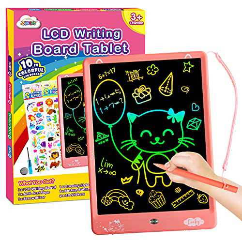 ZMLM LCD Writing Tablet for Toddler: 10 Inch Erasable Drawing Doodle Screen Board Kid Digital Learning Sketch Art Scribbler Color Pad Preschool Educational Toy for Girl 3-8 Year Old Birthday Game Gift