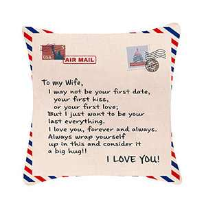 DWDC Pillow Covers 18x18 Anniversary Birthday to My Wife I Love You You are Special to Me Love Husband Cotton Linen Square Throw Waist Pillow Case Decorative Cushion Cover Pillowcase Sofa