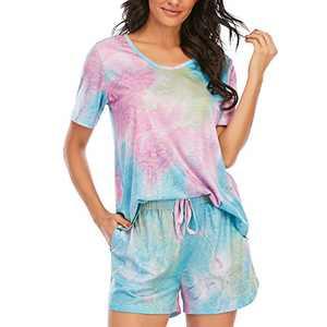 Womens Pajamas Set Shorts Soft Lounge Sets Cute Short Sleeve Sleepwear Pjs with Pockets