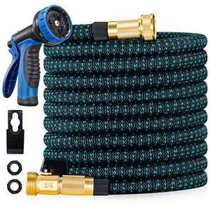 """LINQUO 150 ft Expandable Garden Hose - 2021 Upgraded Flexible Water Hose with 3/4"""" Solid Brass Fittings, Extra Strength Fabric – Retractable Expanding Hoses with 9 Function Watering Spray Nozzle"""