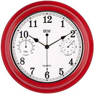 BEW 12 Inch Silent Wall Clock with Thermometer, Classic Retro Decorative Battery Operated Analog Indoor Wall Clock for Bedroom, Living Room (Empire Red)