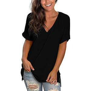 Davenil V Neck T Shirts Women Short Sleeve Casual Summer Loose Fit Shirts with Side Split Tunic Tops Black Size XXL
