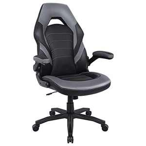 RIMIKING Gaming Chair Racing Computer Desk Executive Office Chair, 360°Swivel Flip-up Arms Ergonomic Design for Lumbar Support Women Men Adults Grey