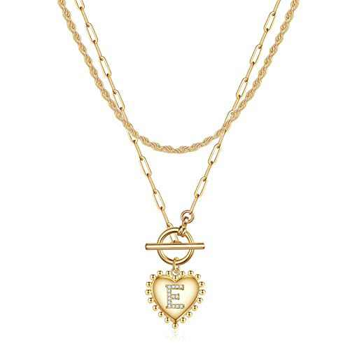 IEFWELL Layered Necklaces for Women, 14K Gold Plated Dainty Letter E Heart Gold Pendant Necklace Gold Link Paper Clip Layered Necklaces for Women Gold Jewelry