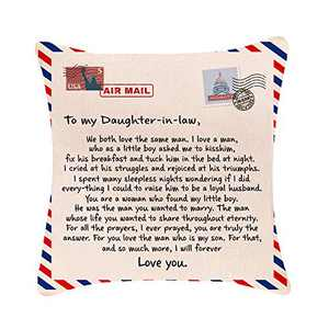 """Pillow Covers 18x18"""" to My Daughter In-Law Never Forget Your Way Back Home I Can Promise Love You for Rest of Mine Birthday Gift Cotton Linen Square Throw Pillow Case Decorative Cushion Cover Sofa"""