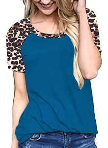 Womens Short Sleeve Tops Summer Casual Crewneck Leopard Raglan Color Block Shirts Blue
