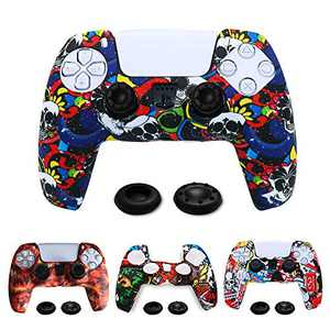 TIANHAO PS5 Controller Skins, 4 Pack Silicone PS5 Cover Controller Cover Skin Case Protector for PS5 Controller X 4 (Mixed Pattern) with Thumb Grips X 8