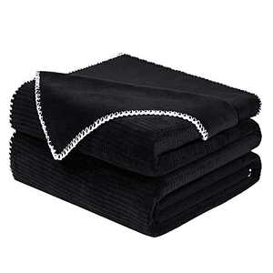 Smile Bee Soft Throw Blankets for Couch, Twin Size Waffle Fleece Blankets, Cozy Plush Warm Blanket with Trimmed Edge, 60 x 80 inches, Black