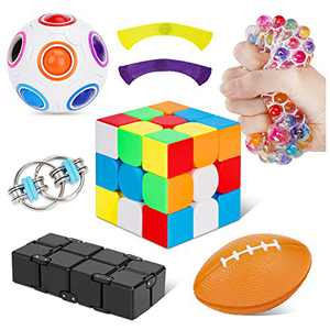 Fidget Toys 7 Pack, Sensory Fidget Toy Set for Kids, Anxiety Stress Relief Gifts Special Toys for ADHD ADD Autistic Children Adults, Infinity & Magic Cube Key Flippy Chain Magic Rainbow Puzzle Ball