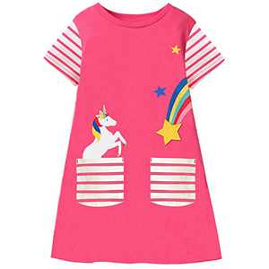 Fiream Summer Toddler Girls Dresses - Casual Cute Animal Applique Outfits Dress Short Sleeve for Kids 3-8 Years(SS104,4-5T)