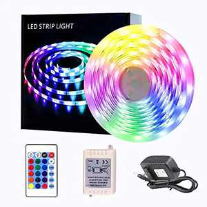 LED Strip Lights, 32.8ft Tape Lights RGB Color Changing with Remote for Desk Bedroom Party Christmas