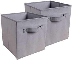 nozama Foldable Storage Cubes Set of 2 - Fabric Cube Boxes Household Cube Storage Box for Home Closet, 2 Pack Cloth Storage Bin with Dual Handles for Home Closet Drawers Organizer (Light Gray)