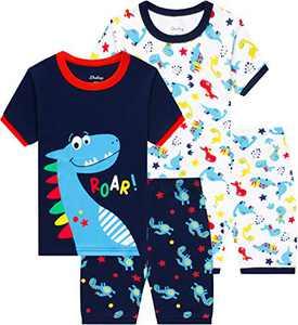 Boys Dinosaurs Pajamas Children Cotton Summer Pjs Toddler Kids School Clothes Size 6