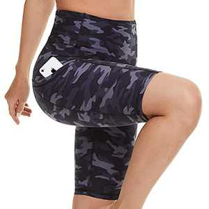 Biker Shorts for Women with Pockets - High Waisted Yoga Shorts for Workout, Running, Athletic, Exercise Navy Camo