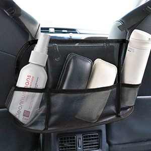 Car Handbag Holder,Car Net Pocket Handbag Holder,Capacity Bag for Purse Storage Phone Documents Pocket, Barrier of Backseat Dog Kids, Driver Storage Netting Pouch (Black (net))