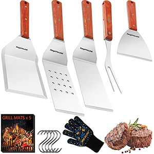 RegeMoudal Griddle Accessories Kit, 16PCS Professional BBQ Grill Griddle Tools Set of 4 Stainless Steel Grill Spatulas with Wooden Handles and Grilling Gloves for Grill Flat Top Cooking Camping