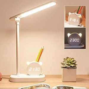 Mubarek LED Desk Lamps for Home Office with Pen Holder Clock, 3 Modes, 5400mAh Battery Operated Desk Lamp for College Dorm Room Desktop Study, LED Desk Light for Home Office Lighting