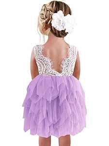 Qmislg Girls Lace Dresses Backless Dress Flower Lace Tutu Tulle A-Line Dress Purple