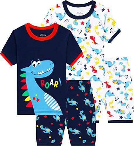 Boys Dinosaurs Pajamas Children Cotton Summer Pjs Toddler Kids School Clothes Size 7