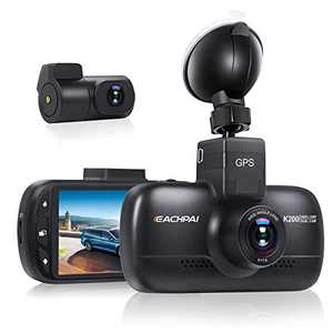 1080P+1080P Dual Lens Car Camera, EACHPAI K200 HD WiFi Dashcam for Cars, Built-in GPS Suction Mount, Super-Capacitor, Loop Record, with Parking Monitor, Motion Detection and Time-Lapse Function