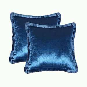 Wahdland Velvet Pillow Covers with Tassel Fringe Decorative Square Pillowcase Soft Solid Cushion Case for Sofa Bedroom 18 x 18 Inch Pack of 2(Navy Blue)