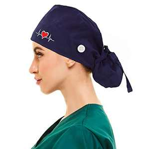 Working Cap with Buttons and Sweatband Adjustable Ribbon Tie Ponytail Hats for Women,Long Hair Head Covers Hair Caps (Navy Heart)