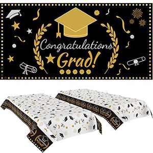 """Graduation Party Decorations,Graduation Party Tablecover 2 Pack (107""""x 54"""") and Graduation Party Banner 1 Pack (70.8""""x42.9"""") Graduation Party Supplies 2021 (Black)"""